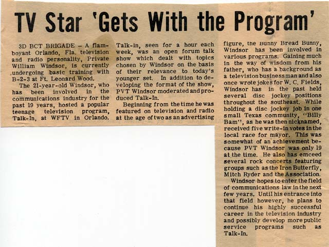 windsor-bill-1970-article-in-fort-leonardwood-newspaper-1970
